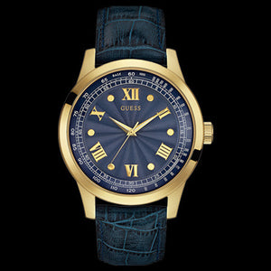 GUESS MONOGRAM BLUE & GOLD MEN'S DRESS WATCH