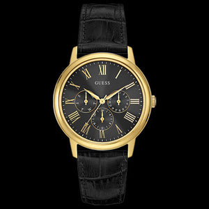 GUESS WAFER BLACK & GOLD MEN'S DRESS WATCH