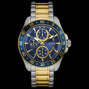 GUESS JET BLUE & GOLD MEN'S SPORT WATCH