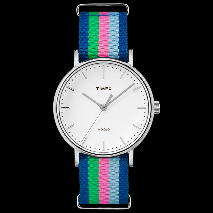 TIMEX WEEKENDER FAIRFIELD SILVER CASE MULTI-COLOUR STRAP WATCH