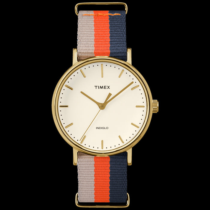 TIMEX WEEKENDER FAIRFIELD GOLD CASE MULTI-COLOUR STRAP WATCH