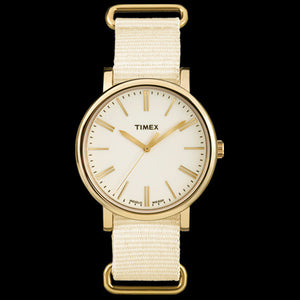TIMEX ORIGINALS CREAM DIAL AND STRAP WATCH