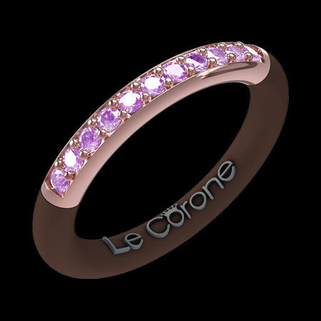 LE CORONE FOREVER ROSE GOLD LILAC CZ RING