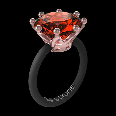 LE CORONE MAGNUM ROSE GOLD SCARLET RED CZ RING