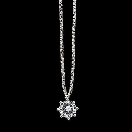 LE CORONE CLASSIC SILVER CLEAR CZ NECKLACE