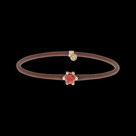 LE CORONE MIGNON ROSE GOLD SCARLET RED CZ BRACELET