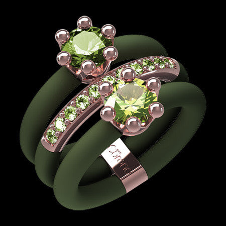 LE CORONE INTRIGO ROSE GOLD PERIDOT GREEN CZ RING