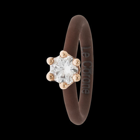LE CORONE MIGNON ROSE GOLD CLEAR CZ RING