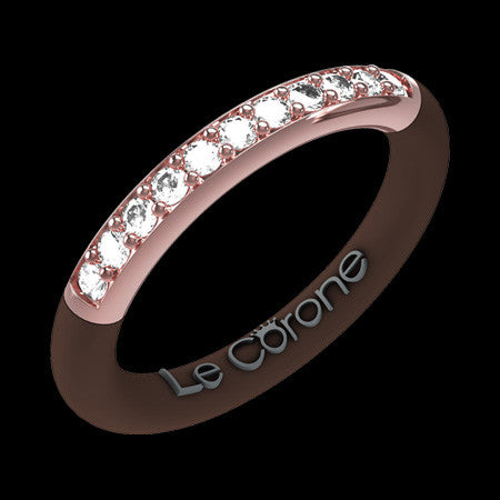 LE CORONE FOREVER ROSE GOLD CLEAR CZ RING