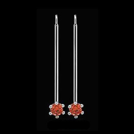 LE CORONE LONG SILVER SCARLET RED CZ EARRINGS