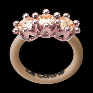 LE CORONE TRILOGY ROSE GOLD CHAMPAGNE CZ RING