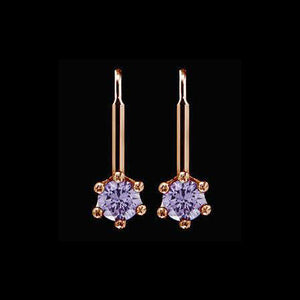 LE CORONE MEDIUM ROSE GOLD LILAC CZ EARRINGS