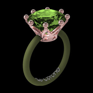 LE CORONE MAGNUM ROSE GOLD PERIDOT GREEN CZ RING