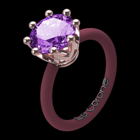 LE CORONE CLASSIC ROSE GOLD LILAC CZ RING