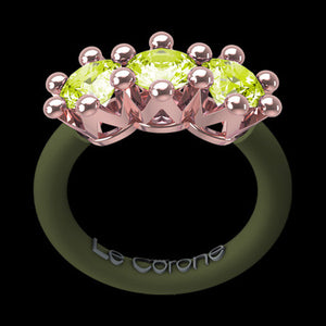 LE CORONE TRILOGY ROSE GOLD PERIDOT GREEN CZ RING