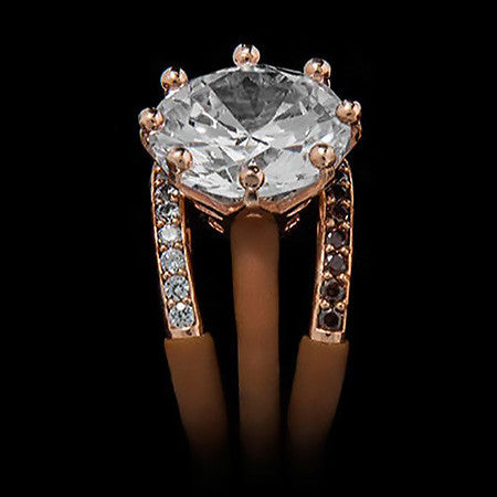 LE CORONE MAGNUM LUXURY ROSE GOLD CLEAR CZ RING