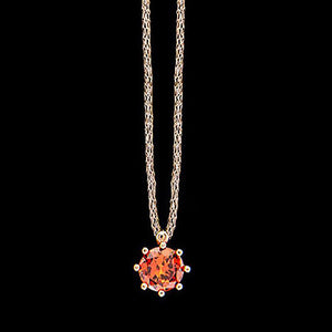 LE CORONE CLASSIC ROSE GOLD SCARLET RED CZ NECKLACE