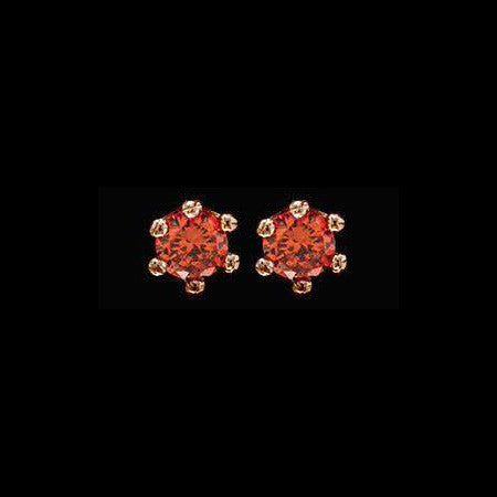 LE CORONE LOBE ROSE GOLD SCARLET RED CZ EARRINGS
