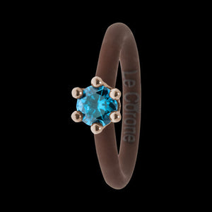 LE CORONE MIGNON ROSE GOLD AQUAMARINE CZ RING