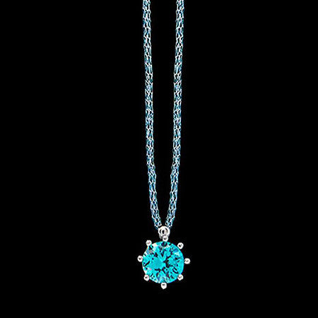 LE CORONE CLASSIC SILVER AQUAMARINE CZ NECKLACE