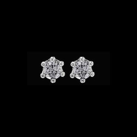 LE CORONE LOBE SILVER CLEAR CZ EARRINGS
