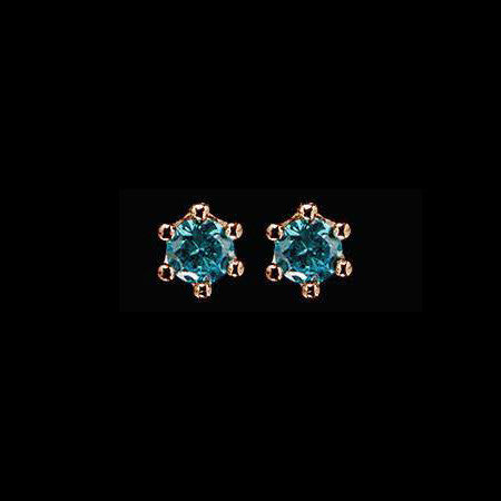 LE CORONE LOBE ROSE GOLD AQUAMARINE CZ EARRINGS