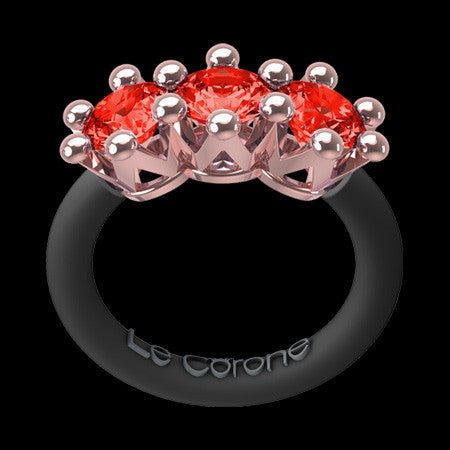 LE CORONE TRILOGY ROSE GOLD SCARLET RED CZ RING