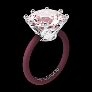 LE CORONE MAGNUM SILVER ROSE PINK CZ RING