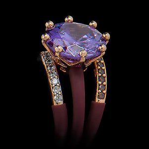 LE CORONE MAGNUM LUXURY ROSE GOLD LILAC CZ RING