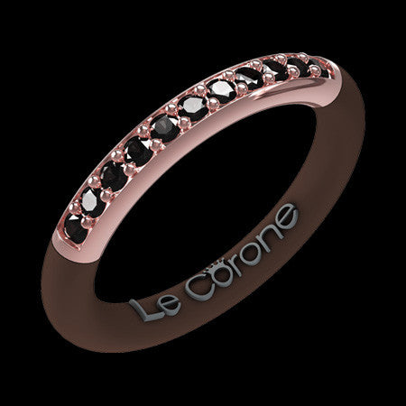 LE CORONE FOREVER ROSE GOLD BLACK CZ RING