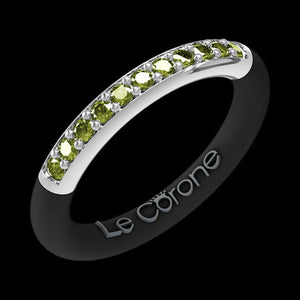 LE CORONE FOREVER SILVER PERIDOT GREEN CZ RING