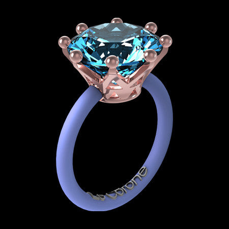LE CORONE MAGNUM ROSE GOLD AQUAMARINE CZ RING