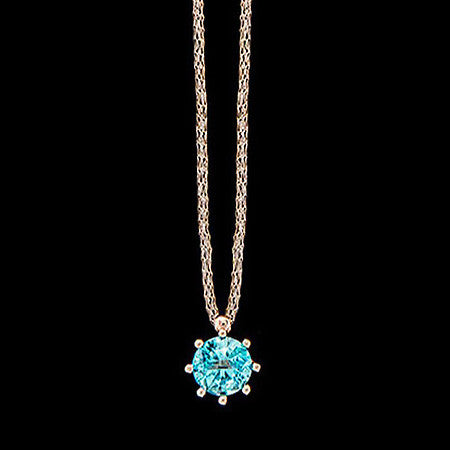 LE CORONE CLASSIC ROSE GOLD AQUAMARINE CZ NECKLACE