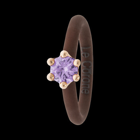 LE CORONE MIGNON ROSE GOLD LILAC CZ RING