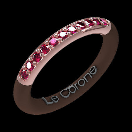 LE CORONE FOREVER ROSE GOLD RUBY RED CZ RING