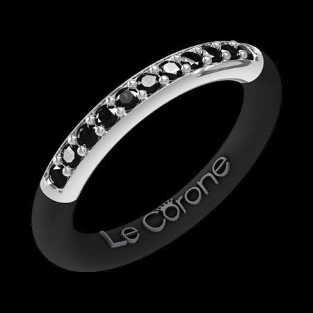 LE CORONE FOREVER SILVER BLACK CZ RING