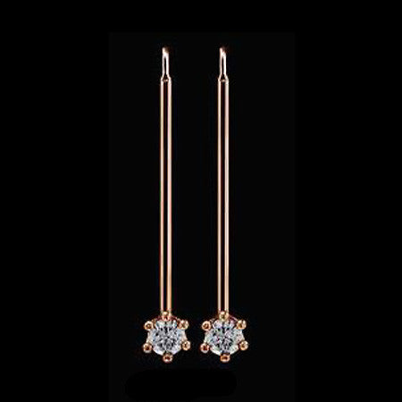 LE CORONE LONG ROSE GOLD CLEAR CZ EARRINGS