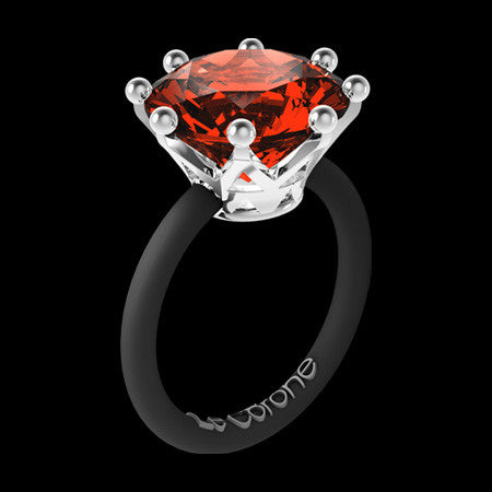 LE CORONE MAGNUM SILVER SCARLET RED CZ RING