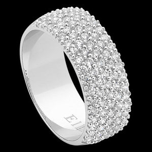 ELLANI STERLING SILVER FIVE ROW HALF PAVE RING