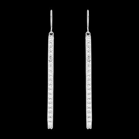 ELLANI STERLING SILVER DROP BAR CZ EARRINGS
