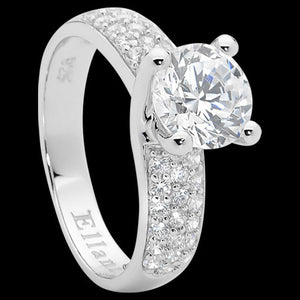 ELLANI STERLING SILVER RAISED SOLITAIRE CZ HALF PAVE RING