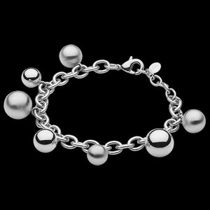 ELLANI STAINLESS STEEL MATT & POLISHED BALL CHARM BRACELET