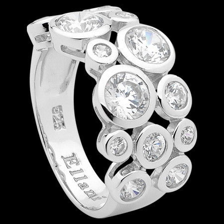ELLANI STERLING SILVER CLUSTER SET CZ RING