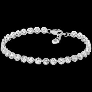 ELLANI STERLING SILVER 4MM CROWN SET CZ TENNIS BRACELET