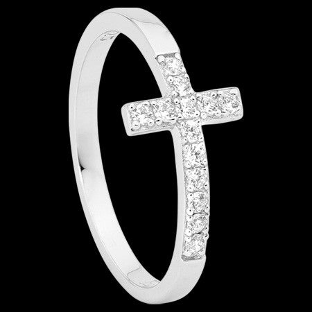 ELLANI STERLING SILVER PAVED CROSS RING