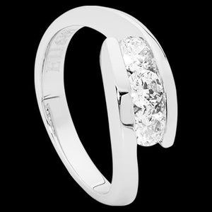 ELLANI STERLING SILVER CZ TRIO CROSSOVER RING