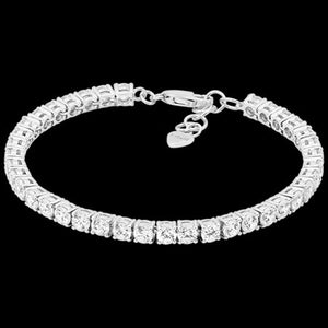 ELLANI STERLING SILVER 4MM SQUARE SET CZ TENNIS BRACELET