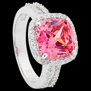 ELLANI STERLING SILVER CUSHION HALO DOUBLE SHANK PINK RING