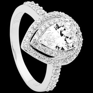 ELLANI STERLING SILVER PEAR CZ DOUBLE PAVE RING