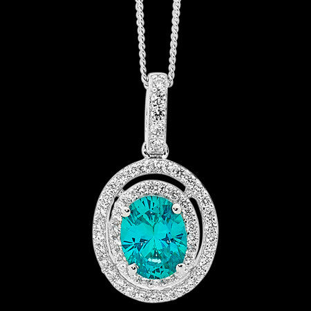 ELLANI STERLING SILVER AQUAMARINE CZ DOUBLE HALO PAVE NECKLACE